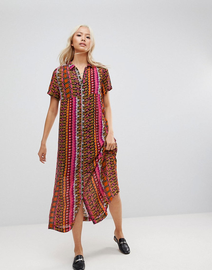 Maison Scotch Printed Maxi Shirt Dress - 18 combo b