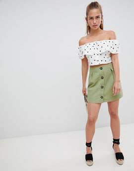 PrettyLittleThing Button Detail Mini Skirt - Khaki