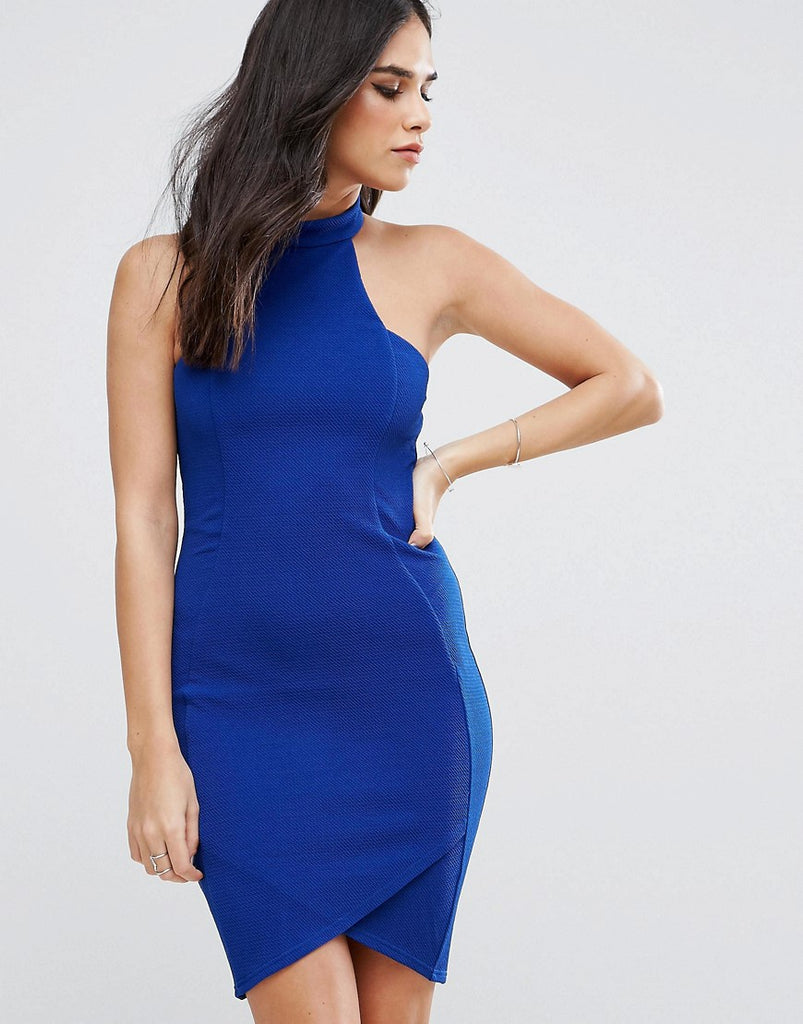 AX Paris Halterneck Crepe Midi Dress - Colbalt blue