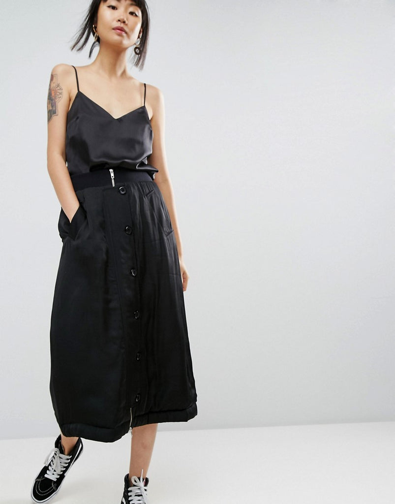 ASOS WHITE Satin Padded Military Midi Skirt - Black