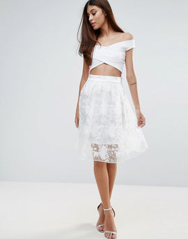 Zibi London Floral Organza Skirt - White