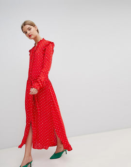 Essentiel Antwerp Ruffle Midi Dress in Spot Print - American red