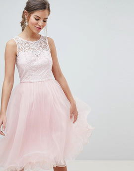 Chi Chi London Midi Tulle Prom Dress with Premium Lace Bodice - Pastel pink