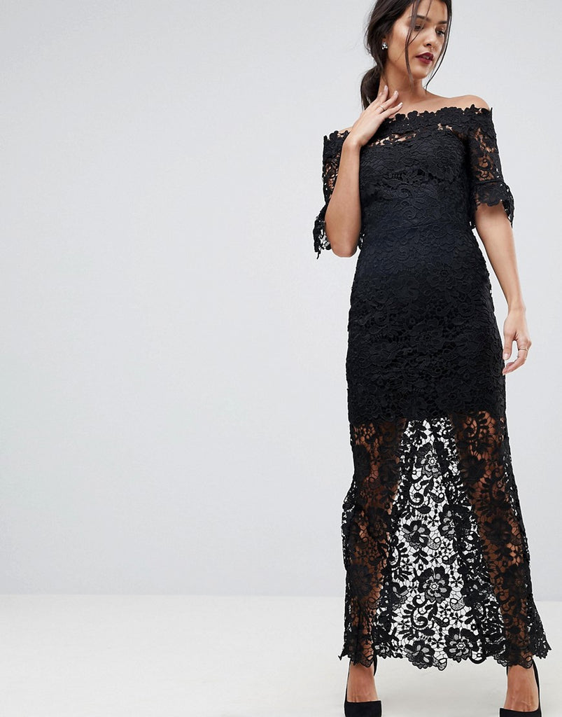 Paper Dolls Off Shoulder Crochet Maxi Dress With Frill Sleeve - Black