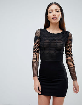 Forever Unique Mesh Long Sleeve Mini Dress - Black