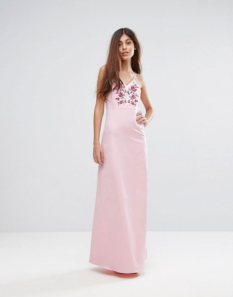 Y.A.S Studio Embroidered Maxi Dress - Ballerina