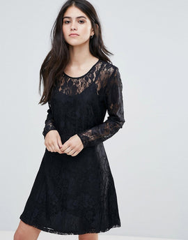 Only Evania Lace Evening Dress - Black w aop