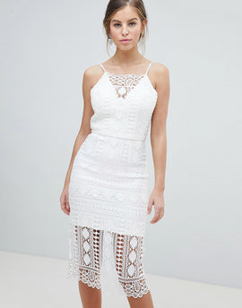 Chi Chi London Lace Midi Dress With V Back - White