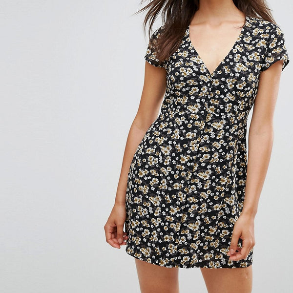 Goldie Floral Printed Button Up Front Dress - Multi