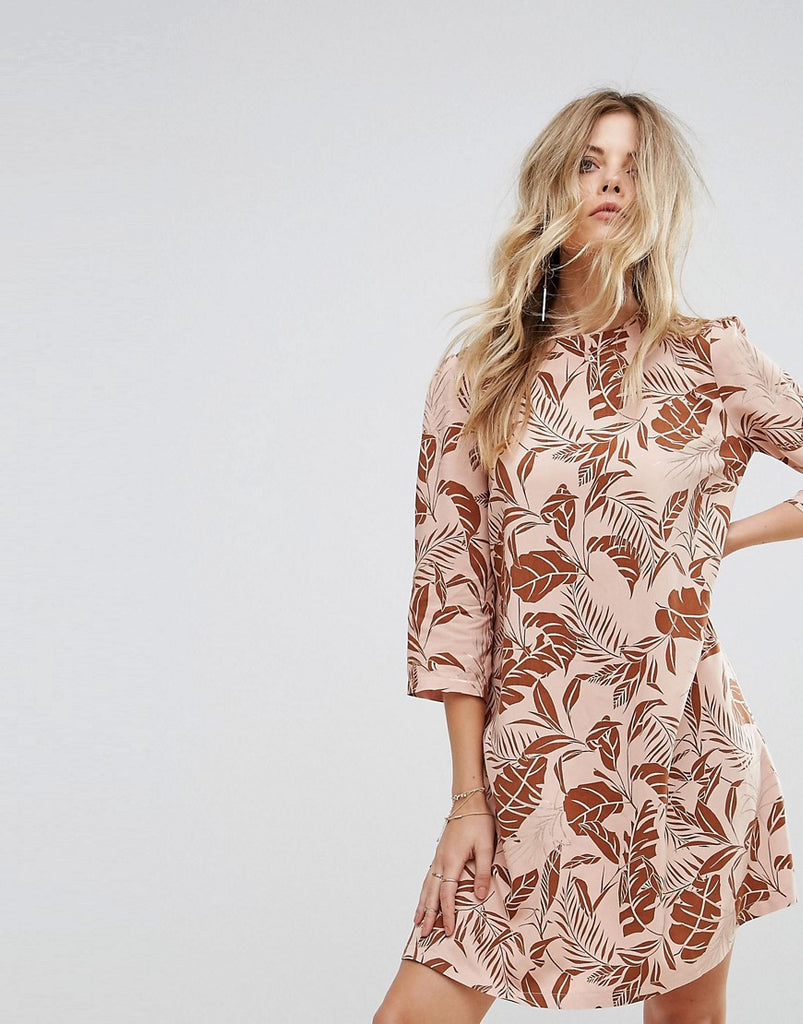 Y.A.S Long Sleeved Shift Dress in Palm Print - Mahogany rose