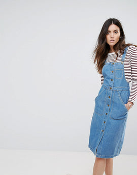 Daisy Street Button Up Dungaree Dress - Blue