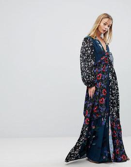 French Connection Patchwork Maxi Dress - Teal multi