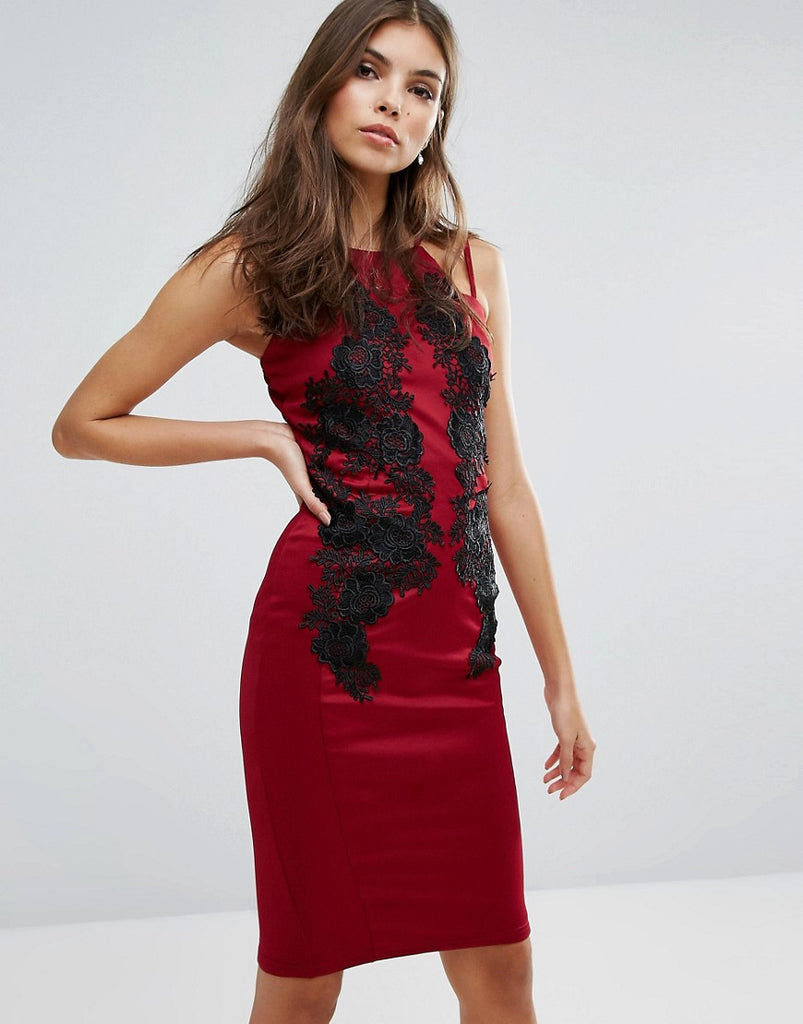 AX Paris Lace Front Midi Dress - Wine/black