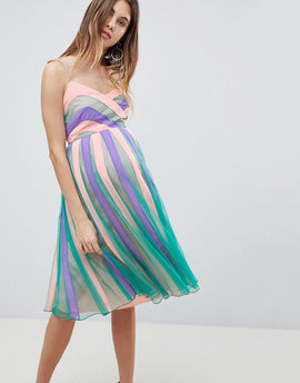 ASOS MATERNITY Colourblock Mesh Fit and Flare Midi Dress - Mint