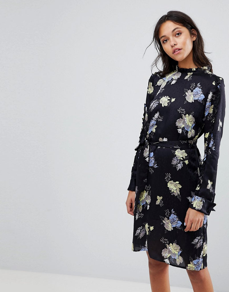 Gestuz Flower Printed Dress With Frill Neck - Aia print