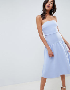 ASOS DESIGN bandeau drop waist midi dress - Blue
