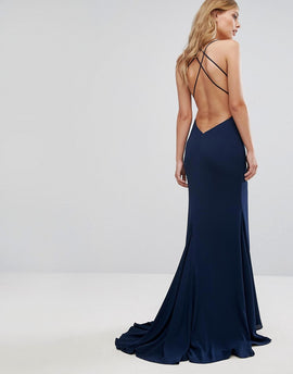 Fame and Partners Strappy Gown with Fishtail - Navy