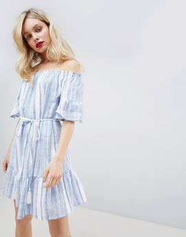New Look Stripe Bardot Sundress - Blue