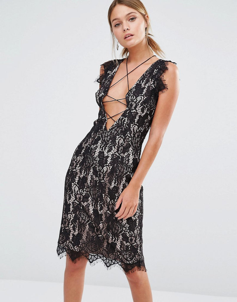 Stylestalker Sleeveless Allover Lace Midi Dress - Black