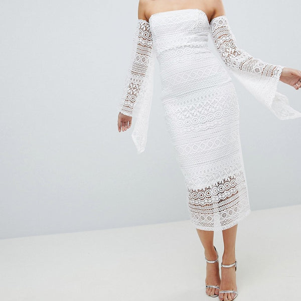Club L Bandeau Crochet Arm Detailed Midaxi Dress - White