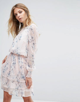 Y.A.S Floral Print Long Sleeve Dress - Night sky aop