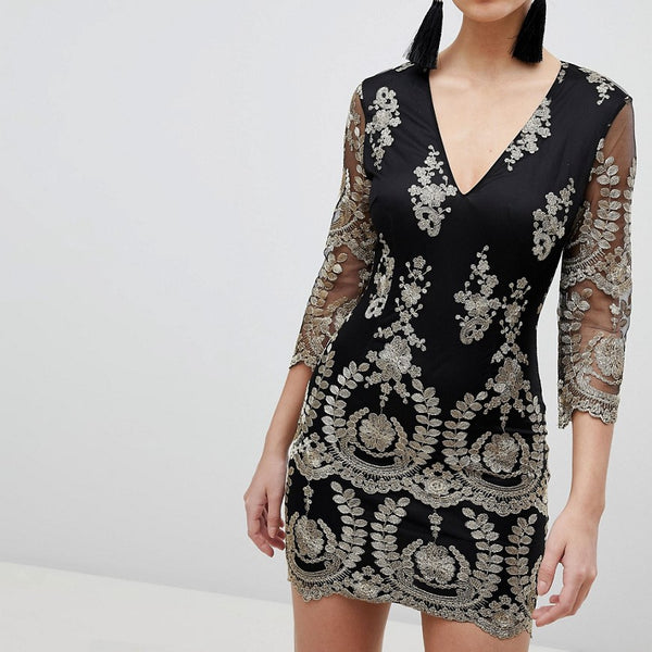 Girl In Mind 3/4 Sleeve Embroidered Dress - Black