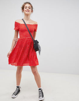 Blend She Dotta Off Shoulder Tea Dress - Poppy red