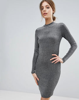 Y.A.S Shimmer Bodycon Long Sleeved Dress - Silver