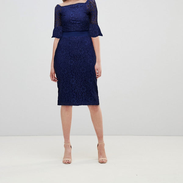 Little Mistress All Over Lace Bardot Midi Dress With Fluted Sleeve Detail - Navy