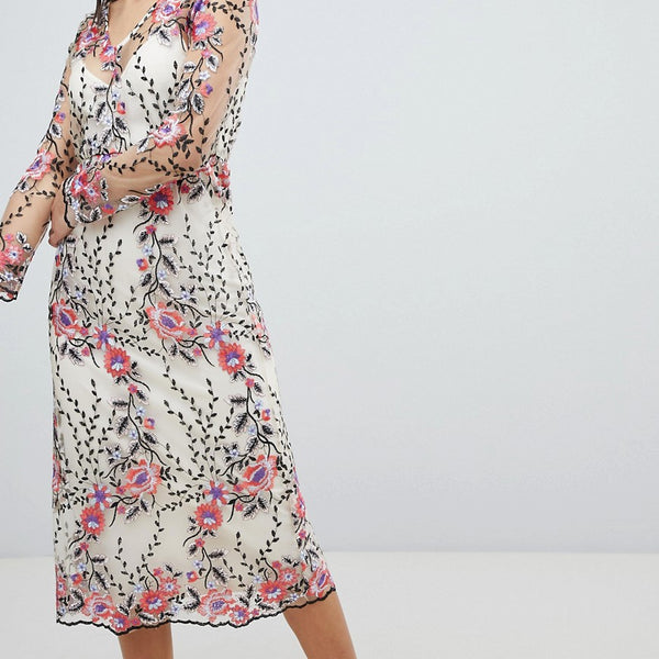 Vila Embroidered Floral Midi Dress - Multi