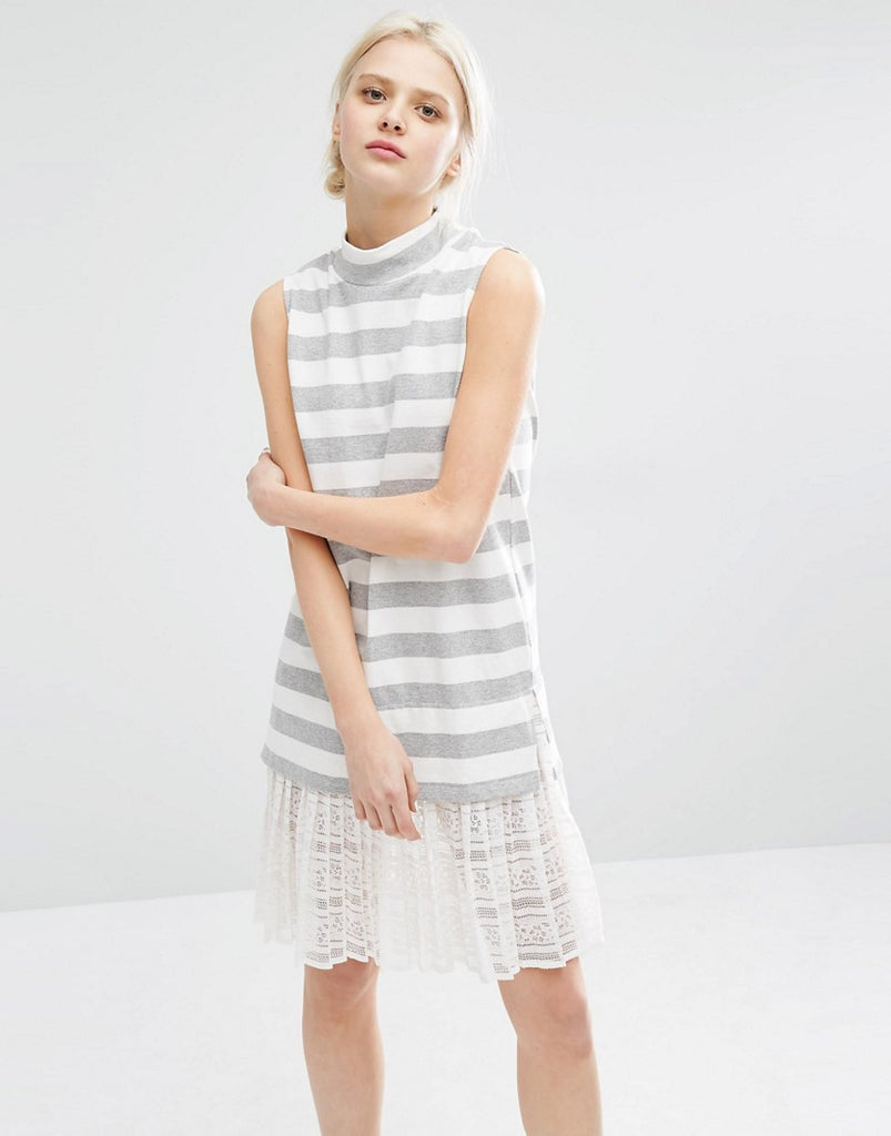 I Love Friday High Neck Sleeveless Dress In Marl Stripe With Lace Trim Hem - White