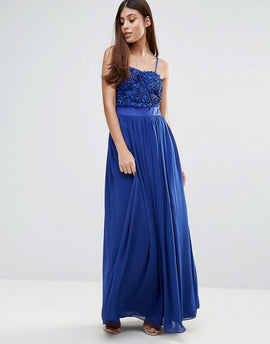 Zibi London Maxi Dress With 3D Floral Detail - Cobalt