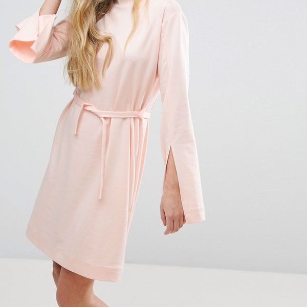 House Of Sunny Extra Long Sleeved Dress With Tie Waist - Pastel pink