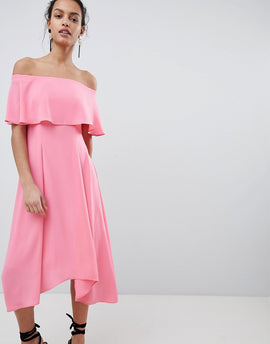 Coast Bonnie Bardot Midi Dress - Pink