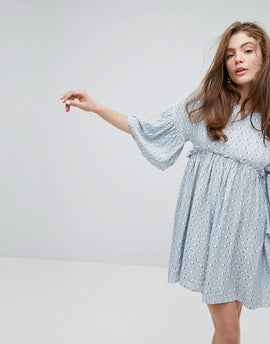 Willow and Paige Relaxed Smock Dress In Summer Print - Multi