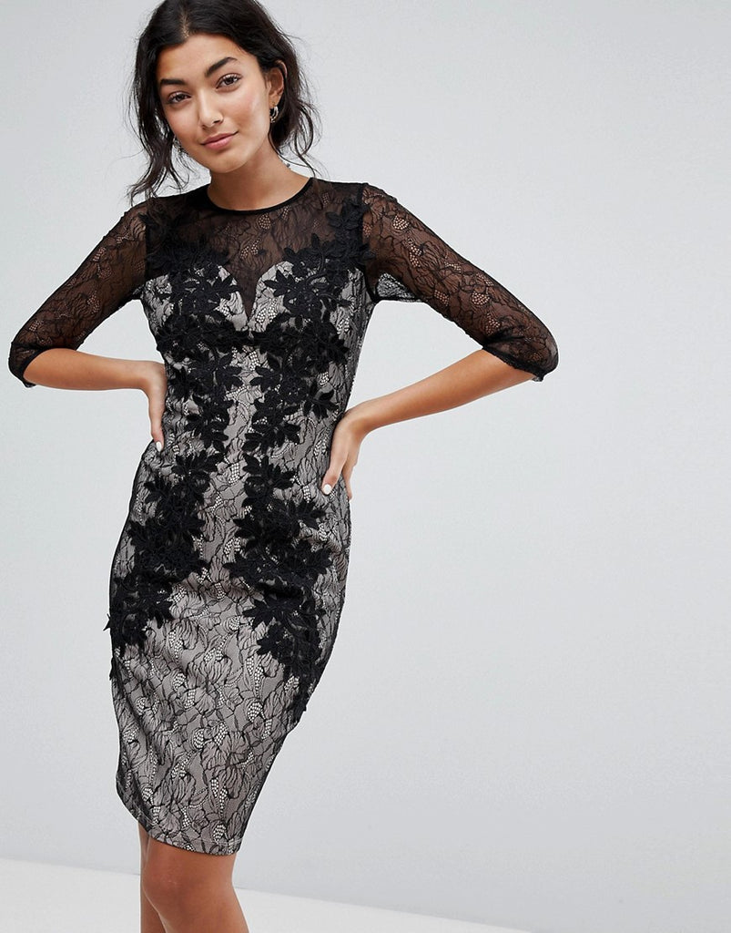 Little Mistress 3/4 Sleeve Contrast Lace Dress - Black