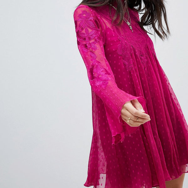 Free People Cocquet Sheer Mini Dress - Raspberry
