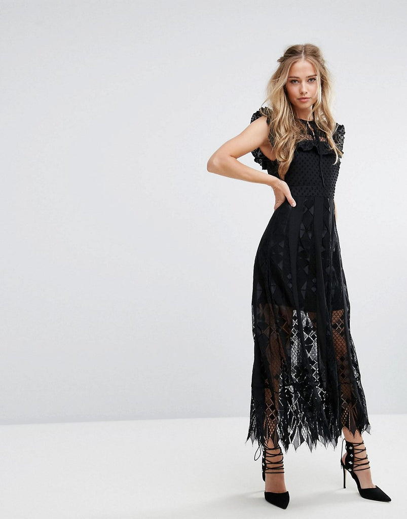 Foxiedox Lace Midi Dress with Ruffle Sleeves - Black