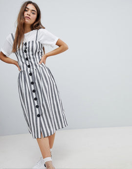 Nobody's Child Button Front Midi Dress In Stripe - Black/white