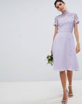 Chi Chi London 2 in 1 High Neck Midi Dress with Crochet Lace - Lavender grey