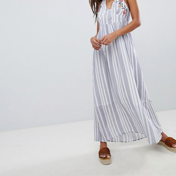 Raga Setting Sail Halterneck Maxi Dress - 59 blue/white