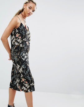 Pull&Bear Floral Print Midi Cami Dress - Black