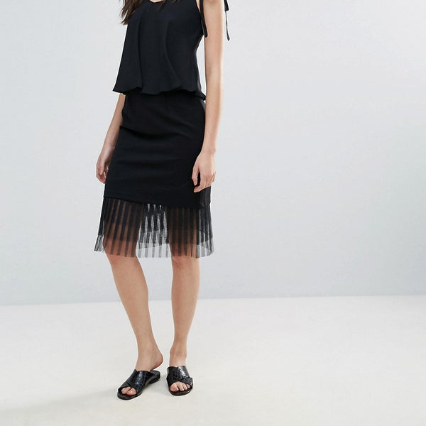 Amy Lynn Occasion Netted Mesh Midi Skirt - Black