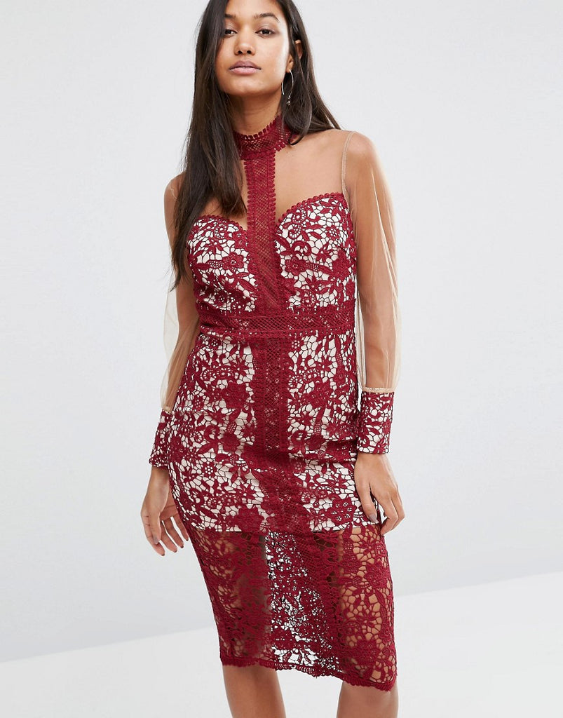 Love Triangle Longsleeve Midi Dress in Lace - Wine