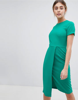 Closet London Short Sleeve Wrap Over Detail Dress - Green
