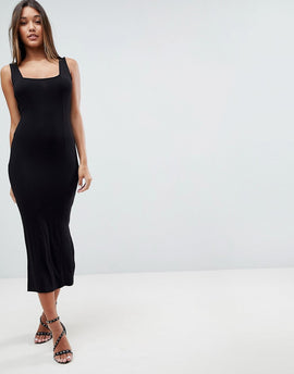 ASOS DESIGN square neck city maxi bodycon dress - Black