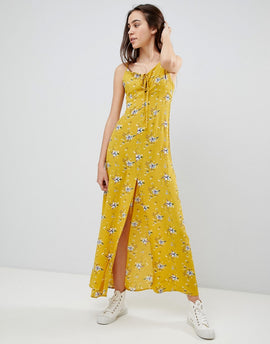 Brave Soul Poppy Maxi Dress with Tie Detail - Mustard