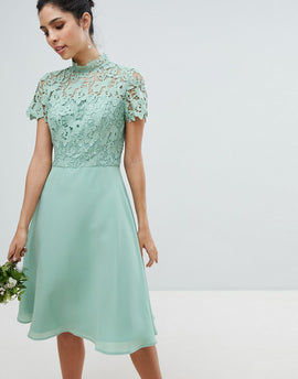 Chi Chi London 2 in 1 High Neck Midi Dress with Crochet Lace - Green lily
