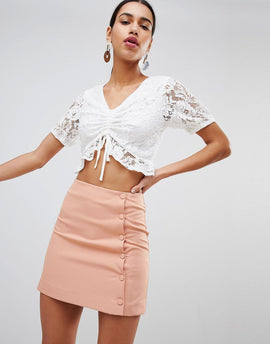 Fashion Union Mini Skirt With Button Side - Apricot