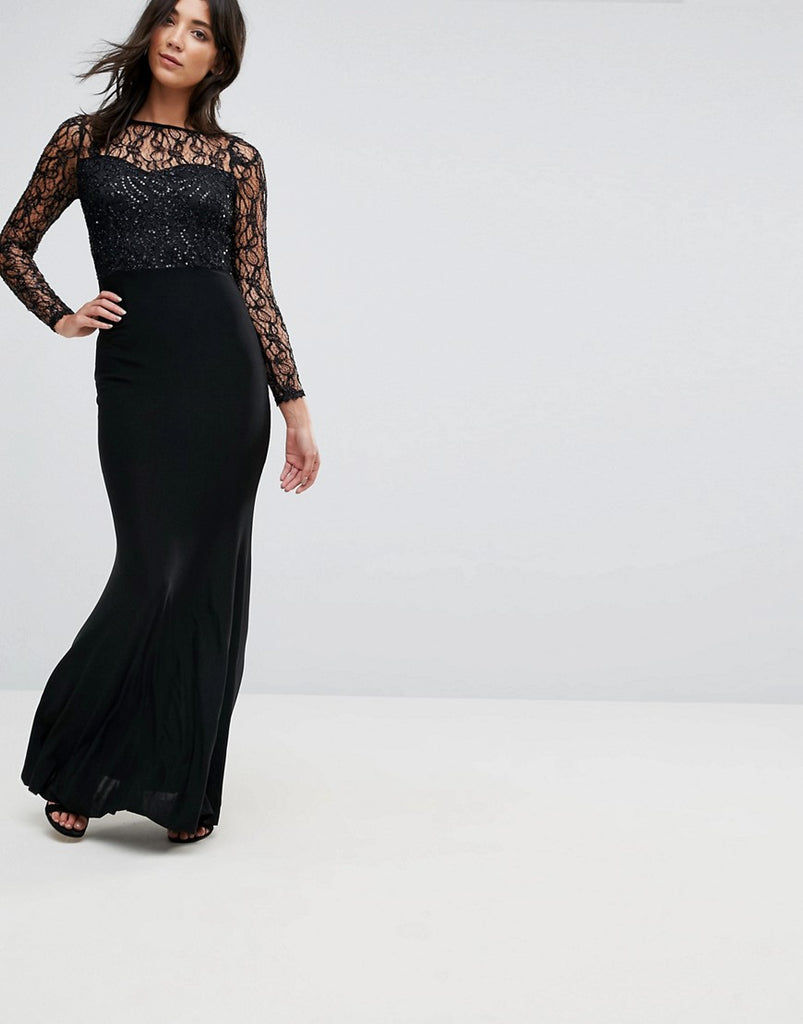 Ax Paris Slinky Maxi Dress With Seuqin Upper - Black
